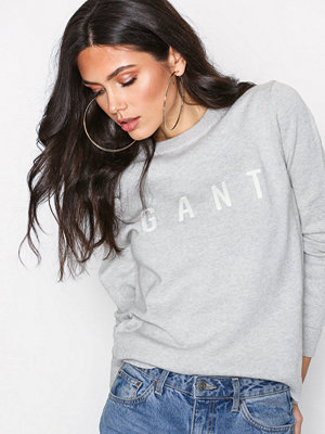 Gant O1. Gant Logo Crew Light Grey Melange