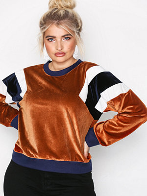 NLY Trend Color Block Velvet Sweat Rust