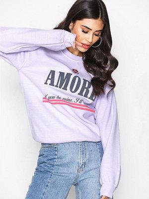 Topshop Embroidered 'Amore' Slogan Sweatshirt Lilac