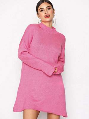 Missguided High Neck Jumper Dress Hot Pink
