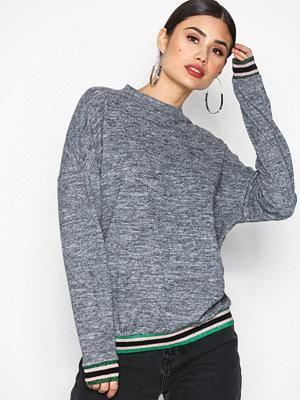 Tröjor - Sisters Point Viona Glitter Sweater Dark Grey Melange