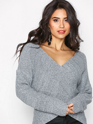 NLY Trend Front Wrap Knit Grey Melange