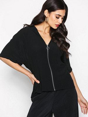 Topshop Zip Front Shirt Black