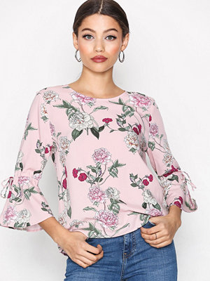 Only onlPARIS 2/4 Tie Aop Top Wvn Ljus Rosa