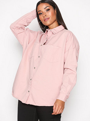 Missguided Back Oversize Denim Shirt Pink
