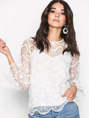 River Island Long Sleeve Lace Top Ivory