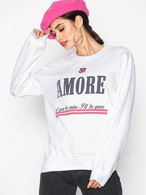Topshop Embroidered 'Amore' Slogan Sweatshirt White
