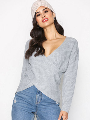 Topshop Cashmere Blend Wrap Top Grey Marl