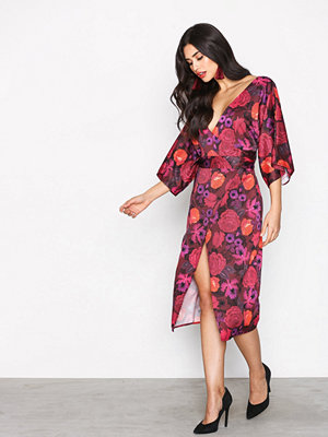 Topshop Floral Wrap Dress Burgundy