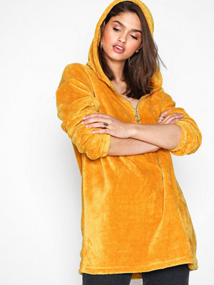NLY Trend Cozy Zip Hoodie Dress Mustard