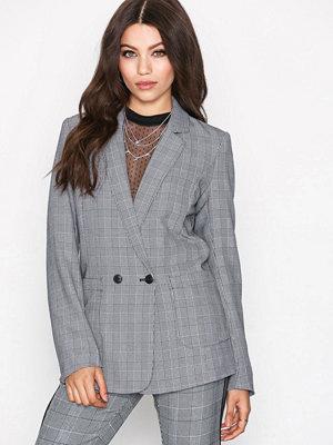 Vero Moda Vmcheck Button L/S Blazer Exp Svart/Vit