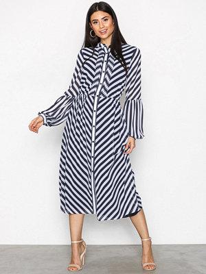 MICHAEL Michael Kors Bias Stripe Midi Dress navy/white