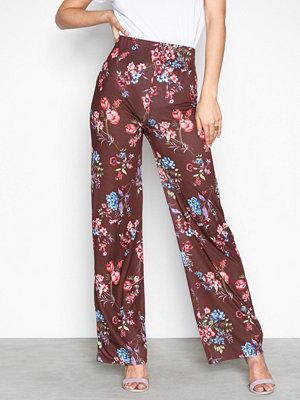 NLY Trend mönstrade byxor Printed Wide Pants Brun/Mönstrad