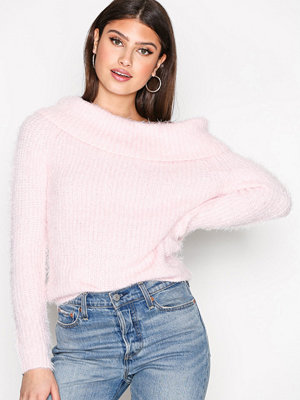 NLY Trend Cosy Off Shoulder Knit Ljus Rosa
