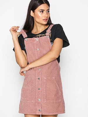 Topshop Cord Button Through Pinafore Dress Pink