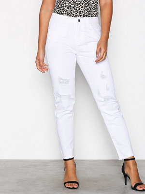 Noisy May Nmkim Nw Loose Destroy Color Jeans Vit