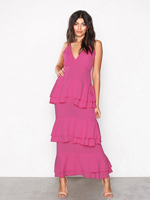 Missguided Strappy Tiered Frill Maxi Dress Pink