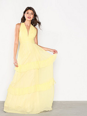 By Malina Allegra Silk Chiffon Dress Lemon