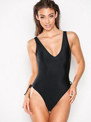 Baddräkter - Missguided Lattice Back Swimsuit Black
