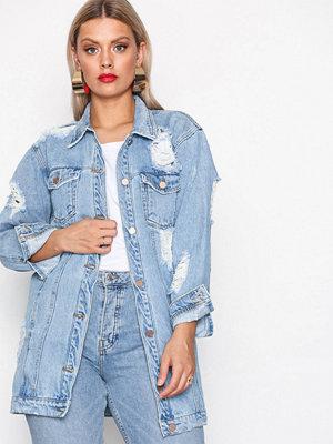 Jeansjackor - Missguided Ripped Longer Length Denim Jacket Blue