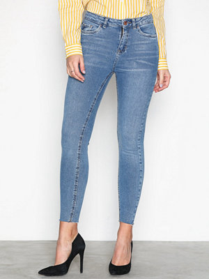 New Look Cut Off Hem Jeans Blue