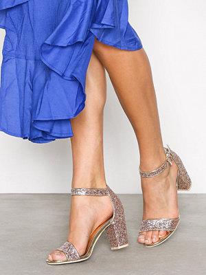 NLY Shoes Block Mid Heel Sandal Multi Glitter