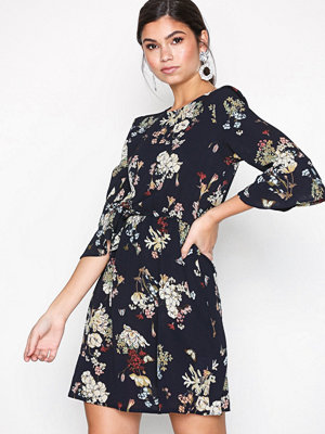 Ax Paris Floral Flounce Dress Navy