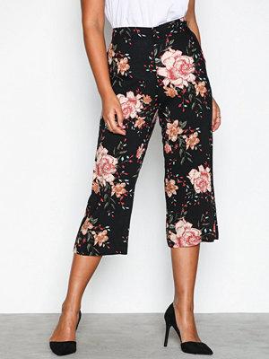 Vero Moda svarta byxor med tryck Vmsimply Easy Visc Hw Culotte Pant Svart