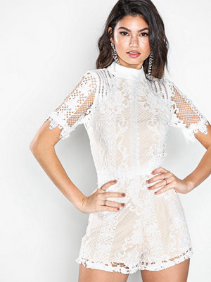 Missguided High Neck Lace Playsuit Ivory