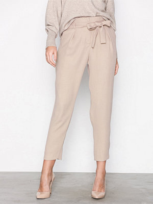 River Island omönstrade byxor Tie Waist Tapered Trouser Light Beige