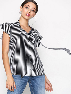 Only onlELENA S/S Striped Bow Shirt Wvn Svart