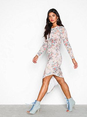 NLY Trend Smock Waist Print Dress Beige