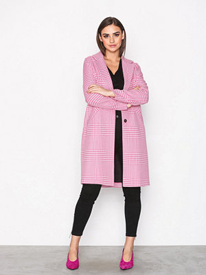 River Island Crombie Check Coat Pink