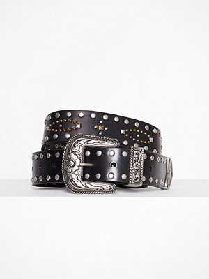 Topshop Leather Mix Stud Western Belt Black