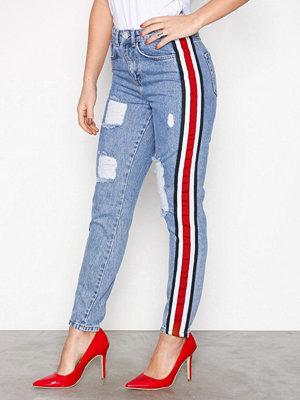 Missguided Boyfriend Striped Jeans Blue