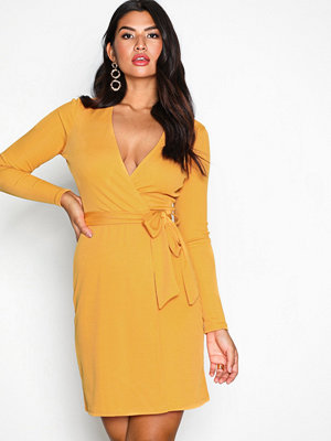 NLY Trend Wrapped Rib Dress Mustard