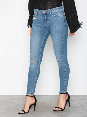 New Look Ripped Knee Raw Hem Skinny Jenna Pottery Blue