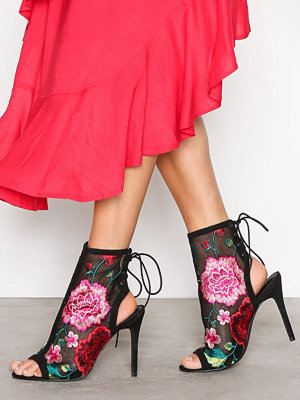 NLY Shoes Lace Bootie Blommig