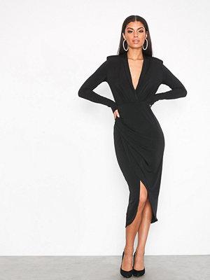 NLY One Wrap Plunge Dress Svart