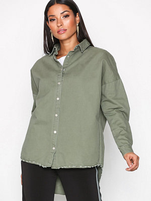 Missguided Oversized Denim Shirt Khaki