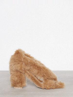 NLY Shoes Fur Heel Sandal Brun