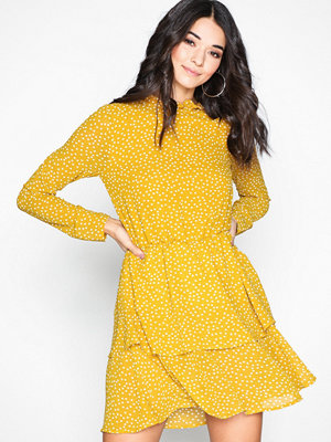 Missguided Long Sleeve Mini Dress Mustard