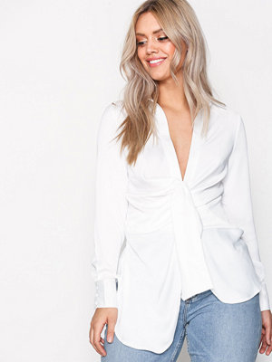 Missguided Satin Tie Front Shirt White