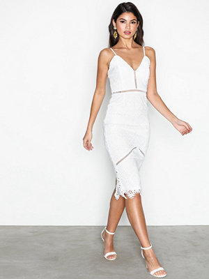 Missguided Lace Ladder Detail Midi Dress White