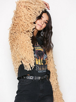 Missguided Long Line Shaggy Cardigan Light Beige