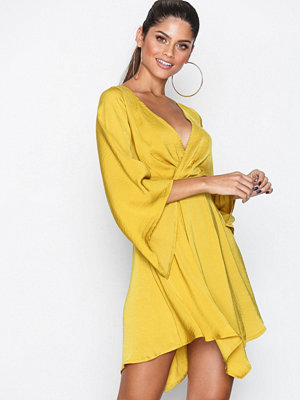 Missguided Satin Plunge Mini Dress Chartreuse