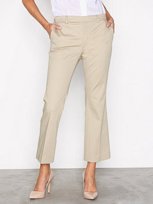 Filippa K omönstrade byxor Hudson Cotton Cropped Trousers Beige