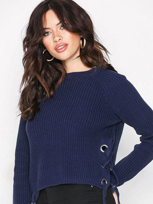 Missguided Chunky Knit High Neck Jumper Navy