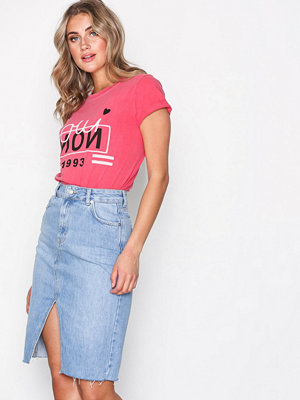 Topshop MOTO Denim Midi Skirt Mid Blue