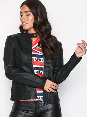 Jacqueline de Yong Jdydallas Faux Leather Jacket Otw N Svart
